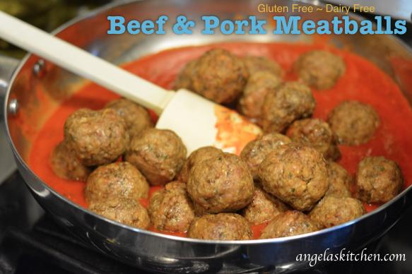 Gluten Free Dairy Free Beef & Pork Meatballs
