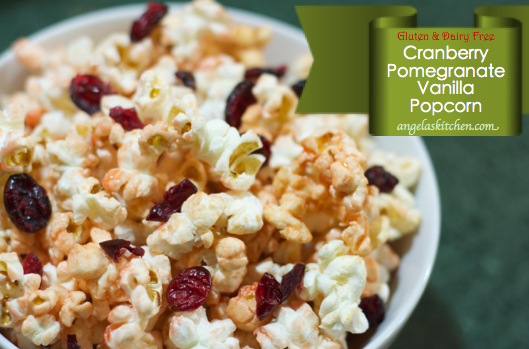 Gluten Free Dairy Free Cranberry Pomeganate Vanilla Popcorn