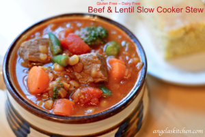 Gluten Free Dairy Free Beef & Lentil Slow Cooker Stew