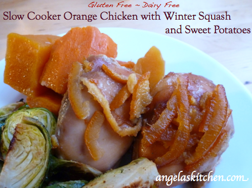 Gluten Free Dairy Free Slow Cooker Orange Chicken with Winter Squash & Sweet Potatoes