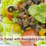 gluten free dairy free taco salad with avocado lime dressing