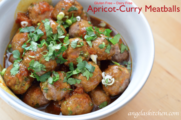 Gluten Free Dairy Free Apricot-Curry Meatballs