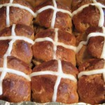 Hot cross buns all ready to eat.