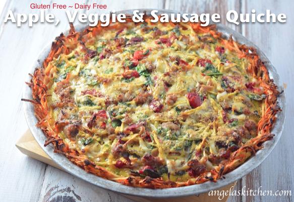 Apple, Veggie & Sausage Quiche, gluten free dairy free