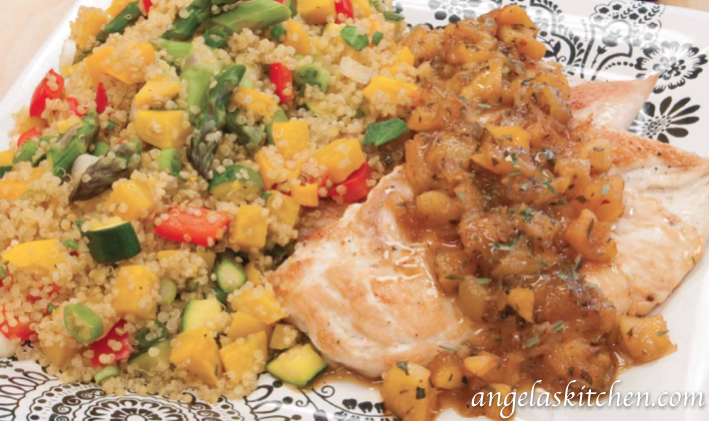Gluten Free Dairy Free Chicken with Apricot Sauce and Quinoa Vegetable Pilaf1