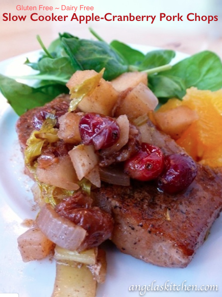 Slow Cooker Apple-Cranberry Pork Chops, Gluten Free Dairy Free