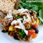 Gluten Free Dairy Free Ground Turkey and Veggie Tortilla Casserole