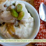 Gluten Free Dairy Free Cardamom Ice Cream with Candied Pistachios