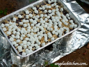 Gluten Free Dairy Free S'more Brownie Bars before baking in Box oven