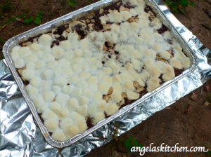 Gluten Free Dairy Free S'more Brownie Bars after baking in box oven.