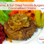 Balsamic & Sun Dried Tomato Burgers with Caramelized Onions