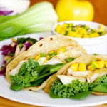 Fish tacos with red cabbage-apple slaw and  mango salsa
