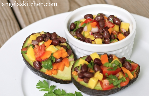 Black Bean Mango Salad Stuffed Avocados1