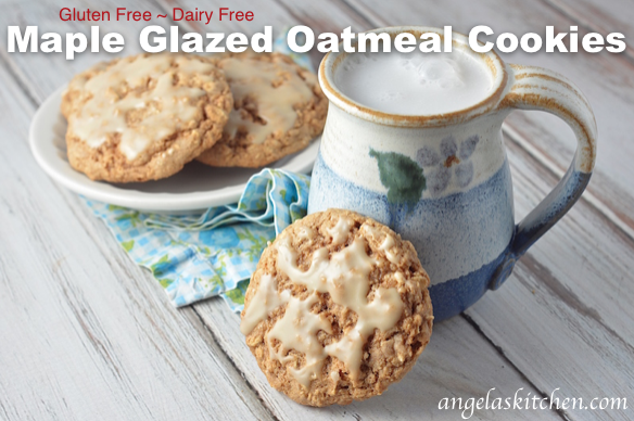 Gluten Free Dairy Free Maple Glazed Oatmeal Cookies